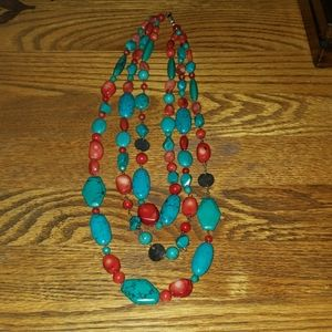 Torquoise and coral three strand necklace